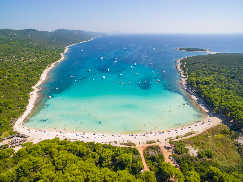 Aerial view of Sakarun bay on the island of Dugi Otok in Croatia