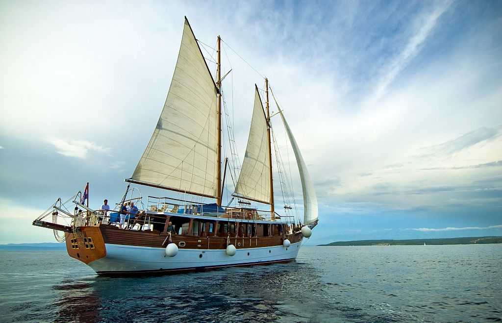 Adriatic Sea, Croatia. Wooden sailboat