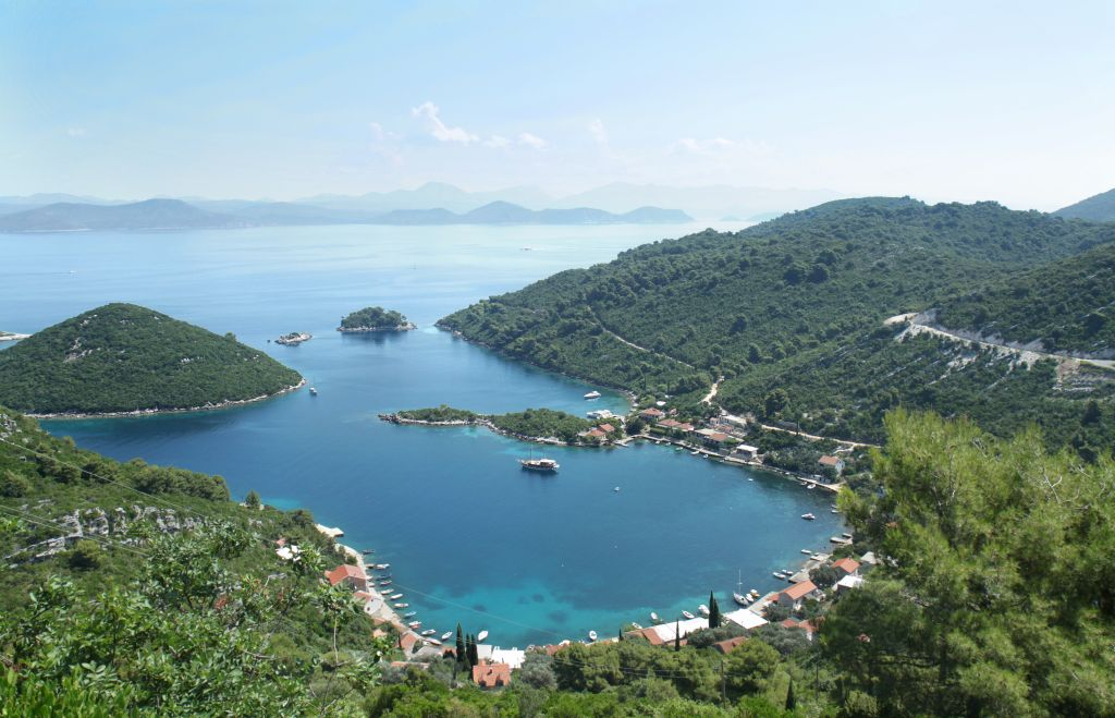 Panoramic view of the Prozura bay, island Mljet, Croatia