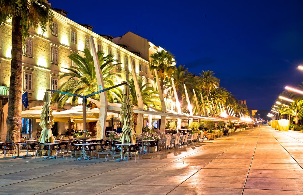 Split Riva waterfront evening view Dalmatia Croatia