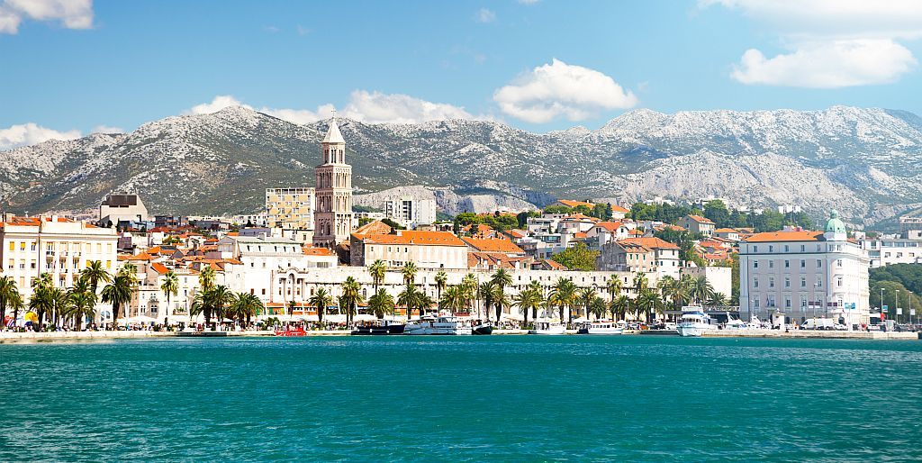 View of Riva and Old Town Split in Dalmatia region, Croatia. Ancient Diocletian's Palace on a Sunny Summer Day