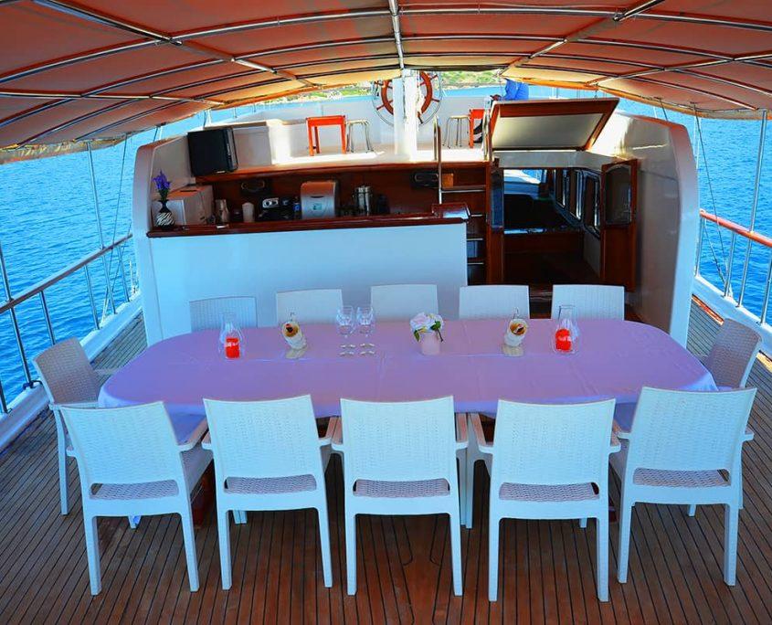 Dinning area on Aft deck