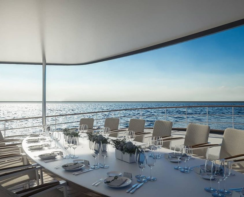 CORSARIO Dinning area on Aft deck