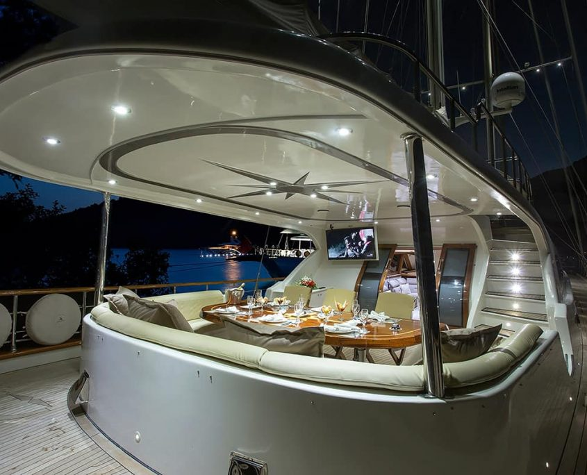 ALESSANDRO Aft deck at night