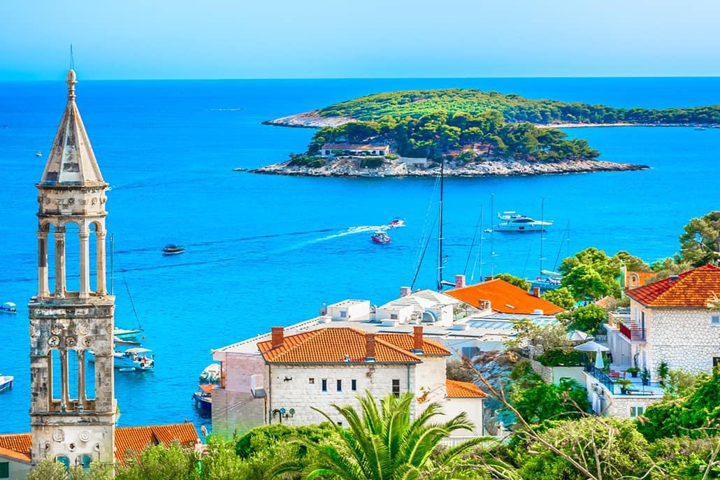 Amazing coastline view at town Hvar scenery in Croatia, Mediterranean summertime