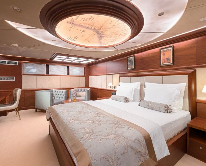 Large bed in cabin