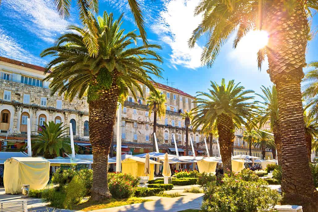 Split main waterfront walkway palms and architecture Dalmatia Croatia, Riva is famous walkway of Split