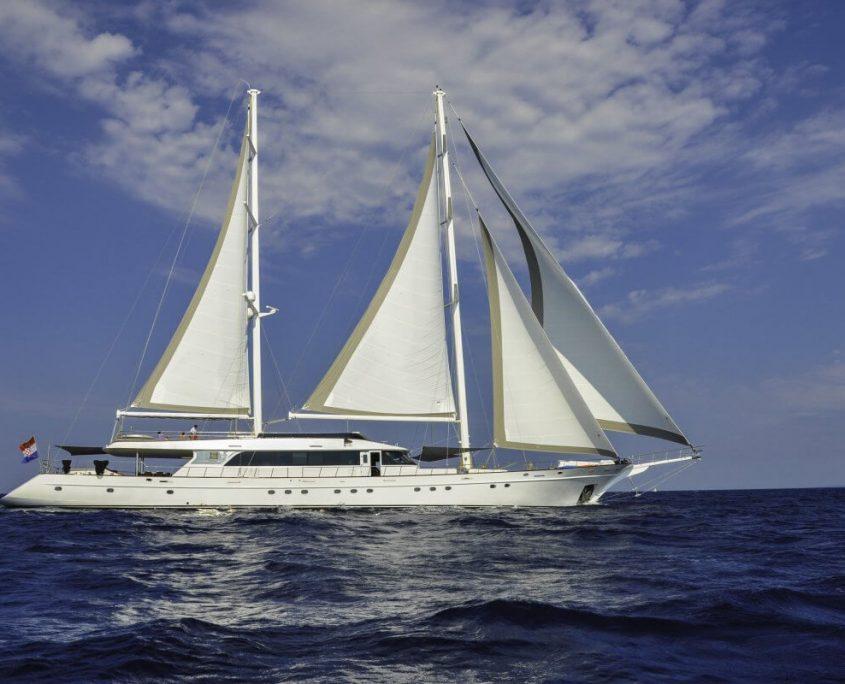 Yacht Lady Gita sailing around