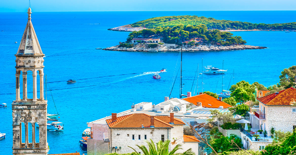 Amazing coastline view at town Hvar scenery in Croatia, Mediterranean summertime