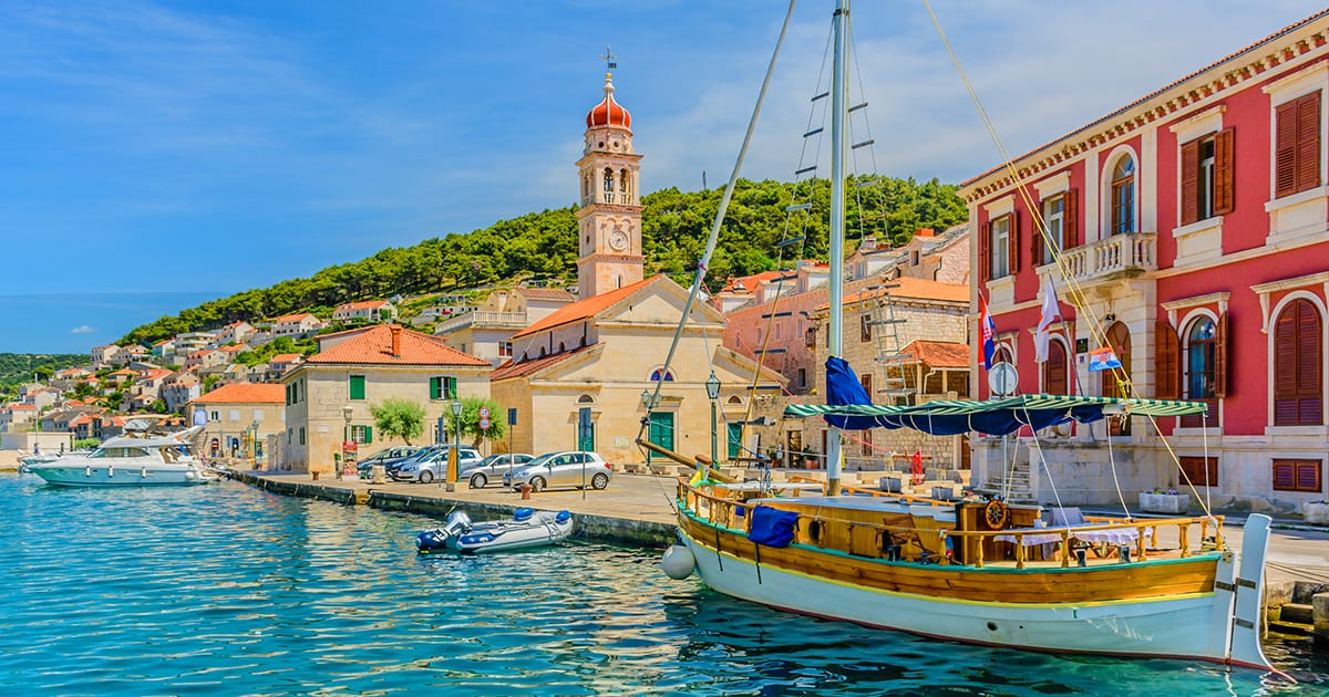 Pucisca is small town on Island of Brac, popular touristic destination on Adriatic sea, Croatia