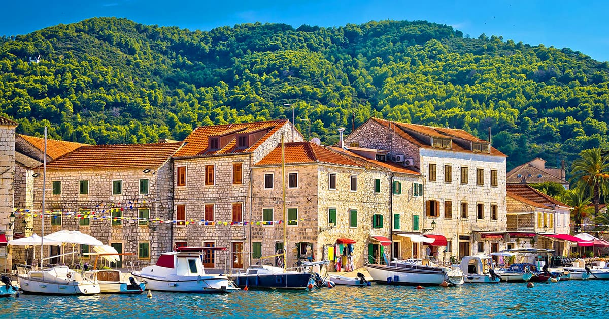 Stari Grad waterfront view island of Hvar Croatia